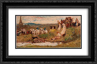 A Country Wedding 24x16 Black or Gold Ornate Framed and Double Matted Art Print by George Hemming Mason