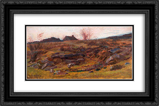 At Wetley Rocks, Staffordshire 24x16 Black or Gold Ornate Framed and Double Matted Art Print by George Hemming Mason