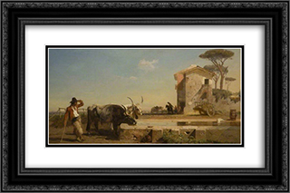 Cattle at a Drinking Place in the Campagna, Rome 24x16 Black or Gold Ornate Framed and Double Matted Art Print by George Hemming Mason