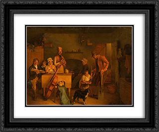 Cottage Interior 24x20 Black or Gold Ornate Framed and Double Matted Art Print by George Hemming Mason
