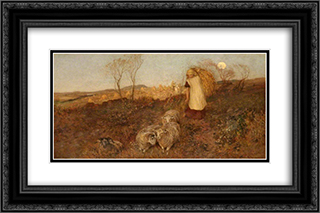 Evening, Matlock 24x16 Black or Gold Ornate Framed and Double Matted Art Print by George Hemming Mason