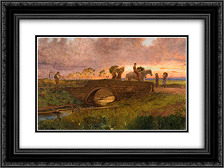 Evening, near Southport 24x18 Black or Gold Ornate Framed and Double Matted Art Print by George Hemming Mason