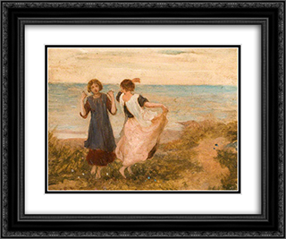 Girls Dancing, a Pastoral Symphony 24x20 Black or Gold Ornate Framed and Double Matted Art Print by George Hemming Mason