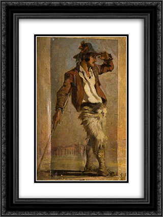 Goatherd of the Campagna 18x24 Black or Gold Ornate Framed and Double Matted Art Print by George Hemming Mason