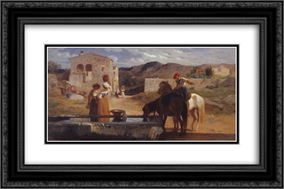 Italian Landscape 24x16 Black or Gold Ornate Framed and Double Matted Art Print by George Hemming Mason