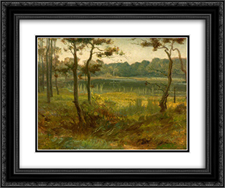 Landscape 24x20 Black or Gold Ornate Framed and Double Matted Art Print by George Hemming Mason