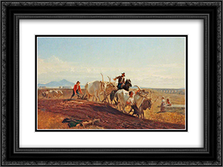 Ploughing in the Campagna 24x18 Black or Gold Ornate Framed and Double Matted Art Print by George Hemming Mason