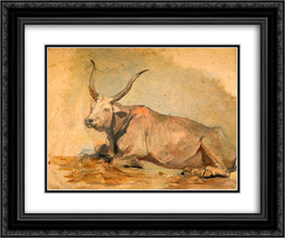 Roman Ox (Lying down) 24x20 Black or Gold Ornate Framed and Double Matted Art Print by George Hemming Mason