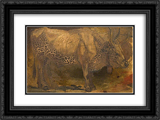 Roman Ox (Standing) 24x18 Black or Gold Ornate Framed and Double Matted Art Print by George Hemming Mason