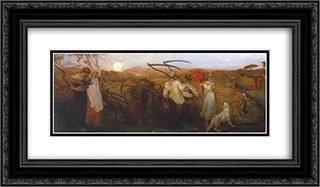The Harvest Moon 24x14 Black or Gold Ornate Framed and Double Matted Art Print by George Hemming Mason