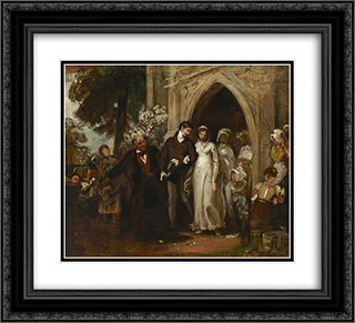 The Village Wedding, Watley Abbey 22x20 Black or Gold Ornate Framed and Double Matted Art Print by George Hemming Mason