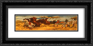 Threshing Corn 24x12 Black or Gold Ornate Framed and Double Matted Art Print by George Hemming Mason