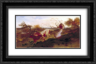 Wind on the Wold 24x16 Black or Gold Ornate Framed and Double Matted Art Print by George Hemming Mason