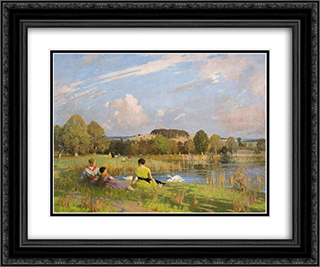 A September Day 24x20 Black or Gold Ornate Framed and Double Matted Art Print by George Henry