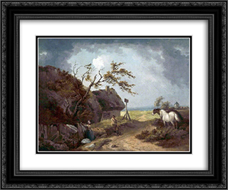 A Country Inn 24x20 Black or Gold Ornate Framed and Double Matted Art Print by George Morland