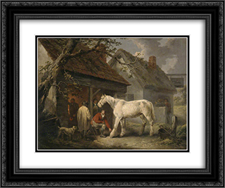 A Farrier's Shop 24x20 Black or Gold Ornate Framed and Double Matted Art Print by George Morland