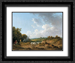 A Gypsy Encampment 24x20 Black or Gold Ornate Framed and Double Matted Art Print by George Morland