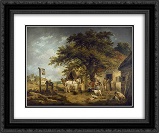 A Halt of a Soldier and His Family 24x20 Black or Gold Ornate Framed and Double Matted Art Print by George Morland