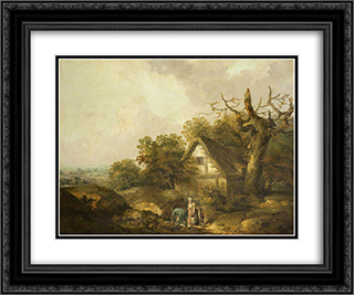 A Rustic Cottage 24x20 Black or Gold Ornate Framed and Double Matted Art Print by George Morland