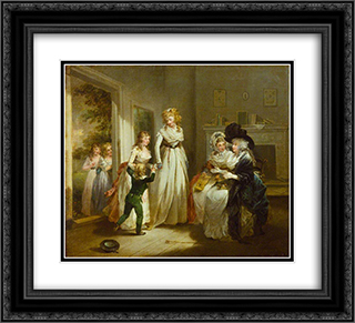 A Visit to the Boarding School 22x20 Black or Gold Ornate Framed and Double Matted Art Print by George Morland