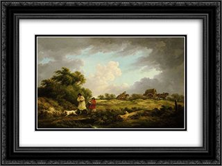 A Windy Day 24x18 Black or Gold Ornate Framed and Double Matted Art Print by George Morland