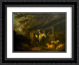 Bargaining for Sheep 24x20 Black or Gold Ornate Framed and Double Matted Art Print by George Morland