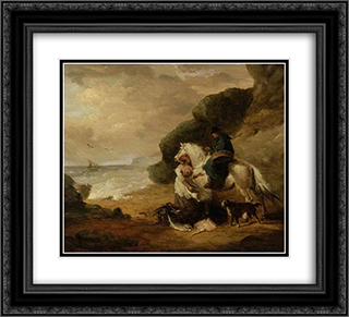 Buying Fish 22x20 Black or Gold Ornate Framed and Double Matted Art Print by George Morland