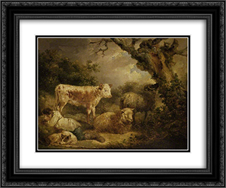 Calf and Sheep 24x20 Black or Gold Ornate Framed and Double Matted Art Print by George Morland