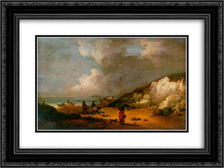 Coast Scene 24x18 Black or Gold Ornate Framed and Double Matted Art Print by George Morland