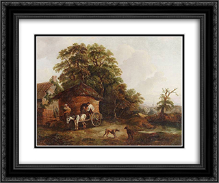 Cottage in Surrey 24x20 Black or Gold Ornate Framed and Double Matted Art Print by George Morland