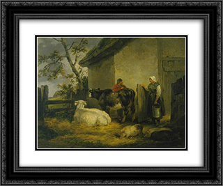 Cowherd and Milkmaid 24x20 Black or Gold Ornate Framed and Double Matted Art Print by George Morland