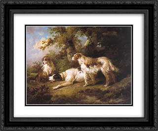 Dogs In Landscape - Setters & Pointer 24x20 Black or Gold Ornate Framed and Double Matted Art Print by George Morland