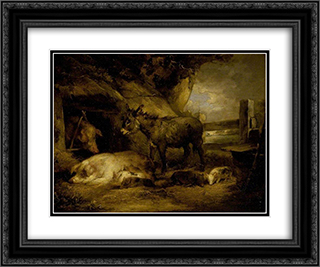 Donkey and Pigs 24x20 Black or Gold Ornate Framed and Double Matted Art Print by George Morland