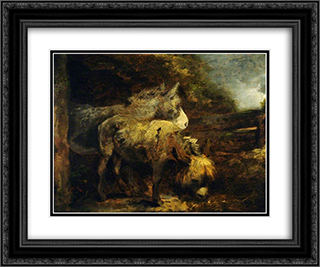 Donkeys 24x20 Black or Gold Ornate Framed and Double Matted Art Print by George Morland