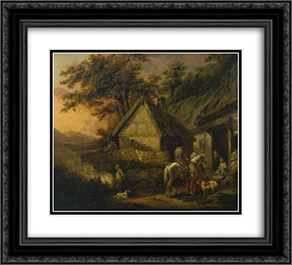 Door of a Village Inn 22x20 Black or Gold Ornate Framed and Double Matted Art Print by George Morland