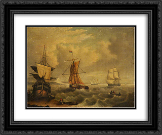 English and French Fishing Boats off Yarmouth 24x20 Black or Gold Ornate Framed and Double Matted Art Print by George Morland