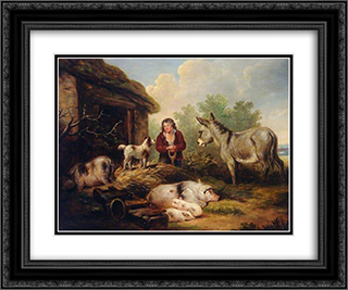 Farmyard Scene 24x20 Black or Gold Ornate Framed and Double Matted Art Print by George Morland
