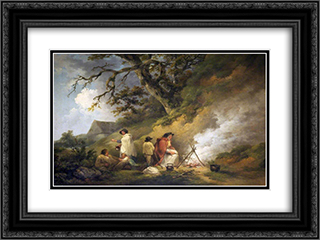 Gypsy Encampment 24x18 Black or Gold Ornate Framed and Double Matted Art Print by George Morland