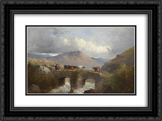 Herdsman with Cattle Crossing Bridge 24x18 Black or Gold Ornate Framed and Double Matted Art Print by George Morland