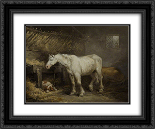 Horse and Dog in a Stable 24x20 Black or Gold Ornate Framed and Double Matted Art Print by George Morland