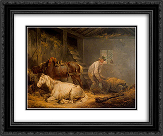 Horses in a Stable 24x20 Black or Gold Ornate Framed and Double Matted Art Print by George Morland