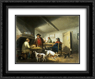 Interior of a Country Inn 24x20 Black or Gold Ornate Framed and Double Matted Art Print by George Morland