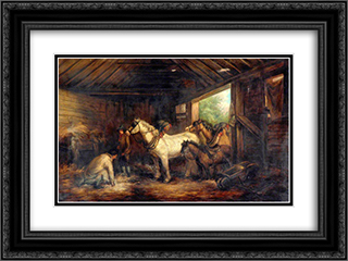 Interior of a Stable 24x18 Black or Gold Ornate Framed and Double Matted Art Print by George Morland