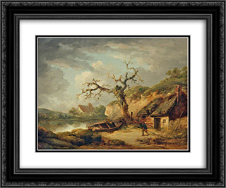 Lake Scene and a Cottage 24x20 Black or Gold Ornate Framed and Double Matted Art Print by George Morland