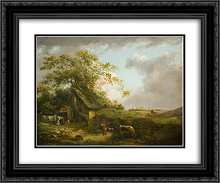 Landscape (Storm Cloud) 24x20 Black or Gold Ornate Framed and Double Matted Art Print by George Morland