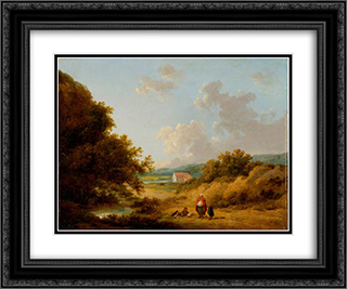 Landscape with a Gypsy Family 24x20 Black or Gold Ornate Framed and Double Matted Art Print by George Morland