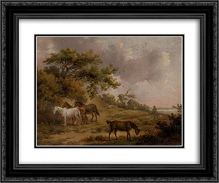 Landscape with Four Horses 24x20 Black or Gold Ornate Framed and Double Matted Art Print by George Morland