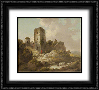 Landscape with Ruined Castle 22x20 Black or Gold Ornate Framed and Double Matted Art Print by George Morland
