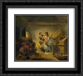 Lovers Observed 22x20 Black or Gold Ornate Framed and Double Matted Art Print by George Morland