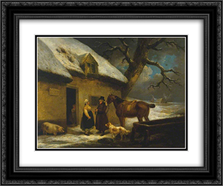 Outside an Inn, Winter 24x20 Black or Gold Ornate Framed and Double Matted Art Print by George Morland